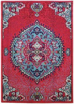 Colores Red Medallion Traditional Designer Soft Easy Cleaned