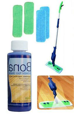 Refillable Spray Mop Kit with 4 Microfiber Mop Pads+Bona Con