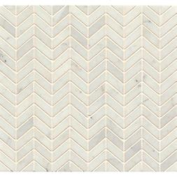 White Carrara Marble Chevron Mosaic Polished